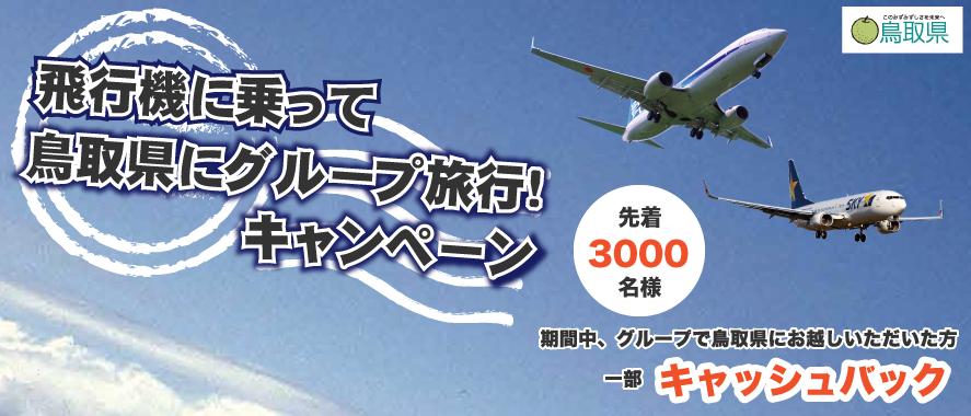 飛行機に乗って鳥取県にグループ旅行