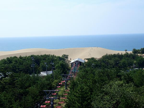 鳥取砂丘を空中から眺める