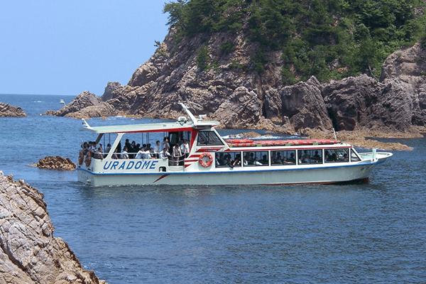 浦富海岸遊覧船と海鮮丼ランチ(いかすみソフト)