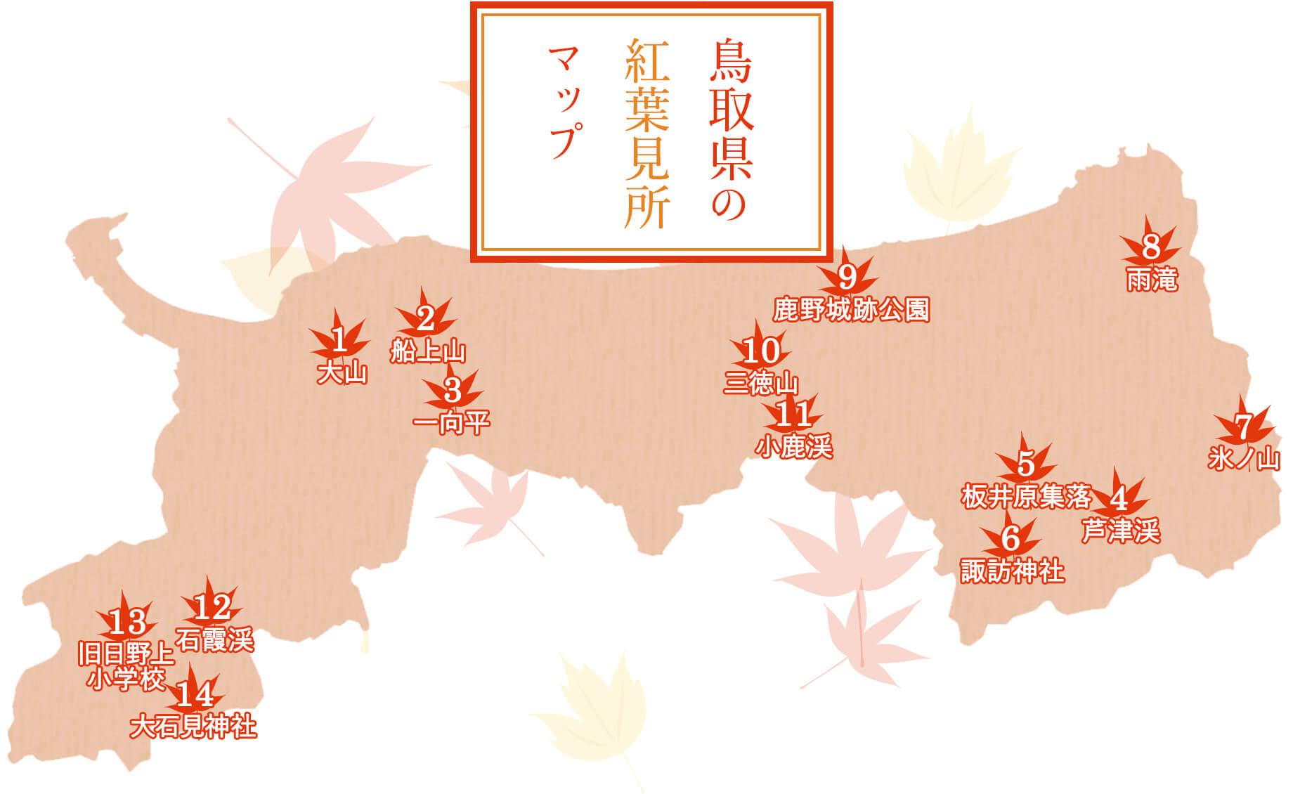 鳥取県の紅葉見所マップ